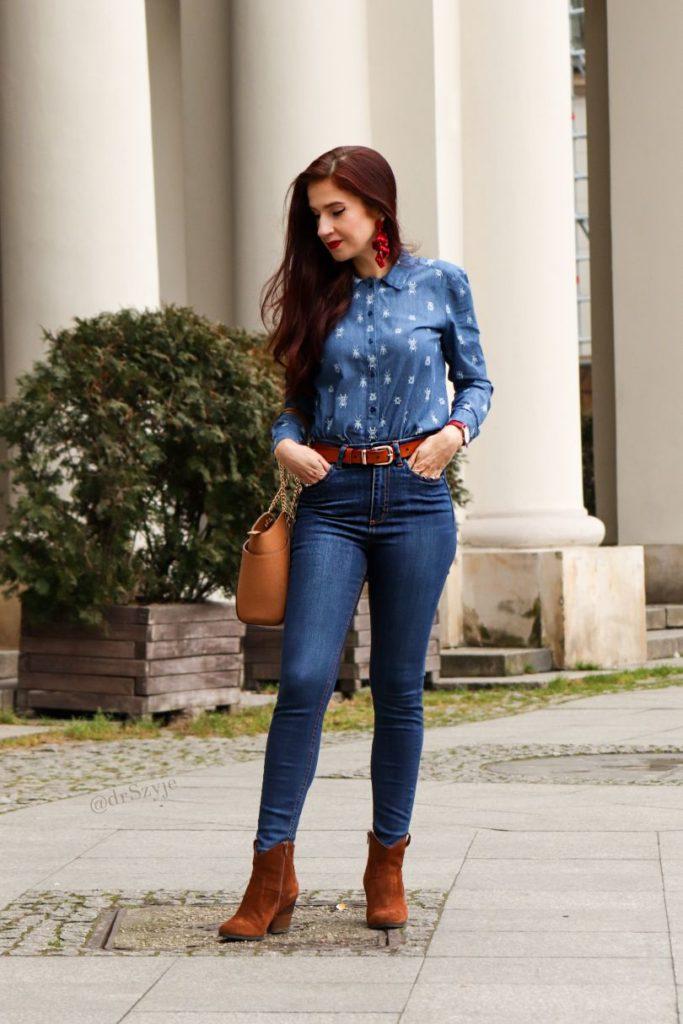 koszula jeansowa w żuczki