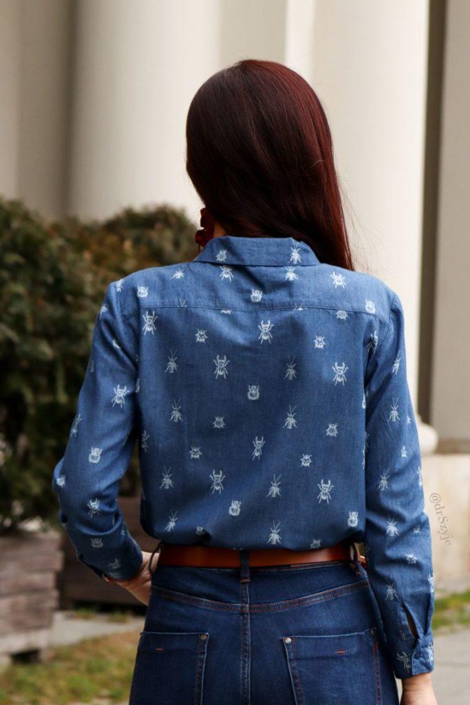 koszula jeansowa w owady